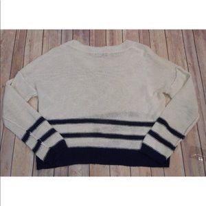 Aqua Sweaters - Aqua sz L striped white navy blue pocket sweater